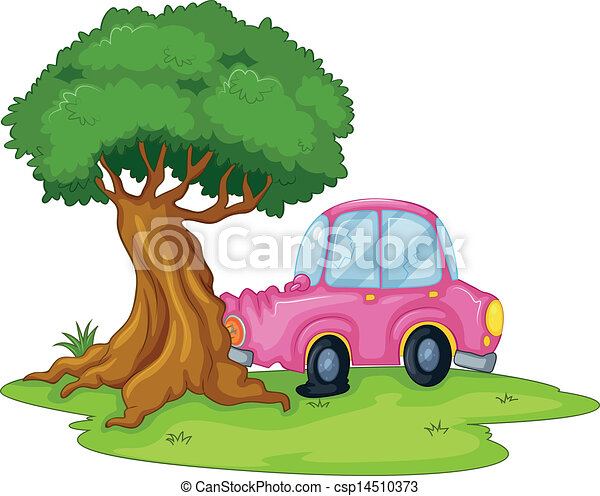 A pink car bumping the giant tree - csp14510373