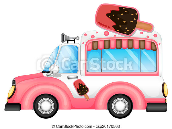 A pink car selling icecream - csp20170563
