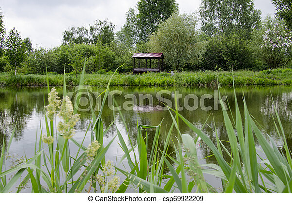 A place for meditation-wooden gazebo stands on the shore of the Lake near the young trees - csp69922209