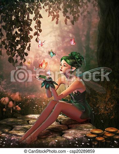 A Place of Butterflies, 3d CG - csp20289859