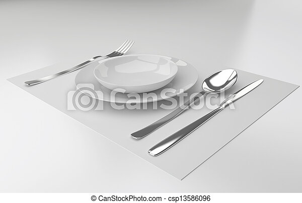 A place setting with silver fork knife spoon and white plat - csp13586096  sc 1 st  Can Stock Photo & A place setting with silver fork knife spoon and white plat ...