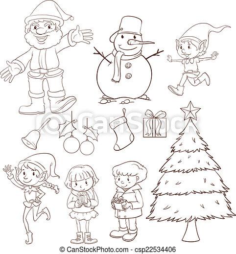 A Plain Sketch Of Christmas Celebration