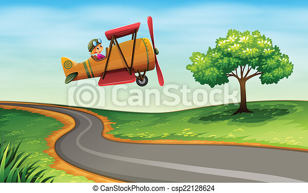 A plane above the winding road - csp22128624