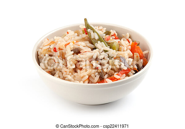 A plate of rice with vegetables - csp22411971