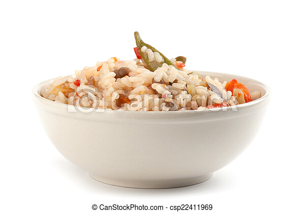 A plate of rice with vegetables - csp22411969