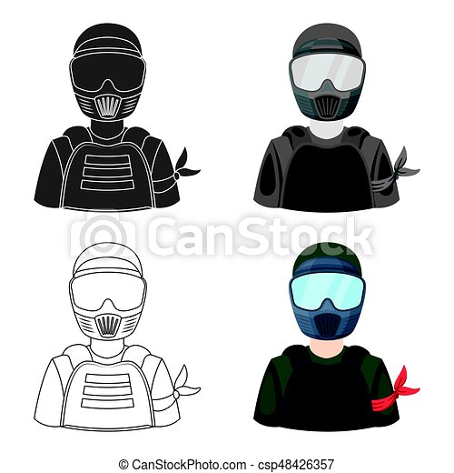 A player in paintball. Paintball single icon in cartoon style vector symbol stock illustration web. - csp48426357