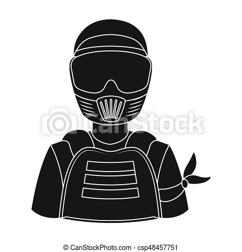 A player in paintball. Paintball single icon in black style vector symbol stock illustration web. - csp48457751