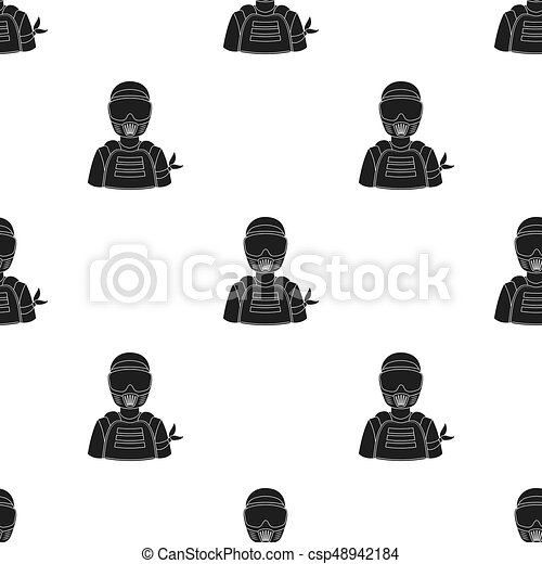 A player in paintball. Paintball single icon in black style vector symbol stock illustration web. - csp48942184
