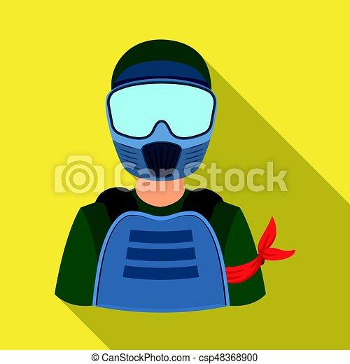 A player in paintball. Paintball single icon in flat style vector symbol stock illustration web. - csp48368900