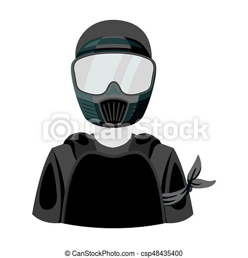 A player in paintball. Paintball single icon in monochrome style vector symbol stock illustration web. - csp48435400