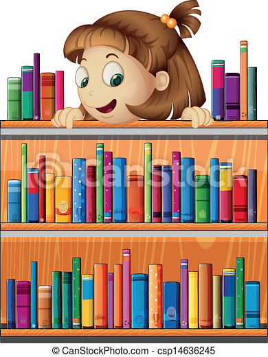 A playful young girl in the library - csp14636245