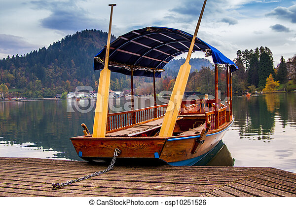 A pletna, traditional Slovenia boat, on Lake Bled - csp10251526