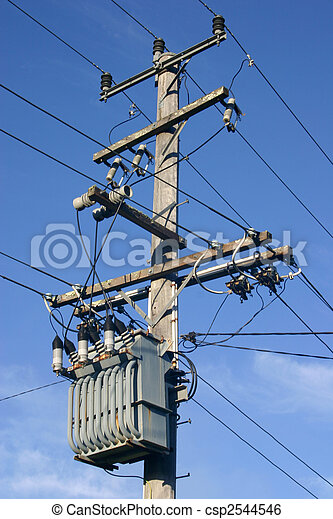 A Pole Mounted Distribution Transformer And Hv Power Line