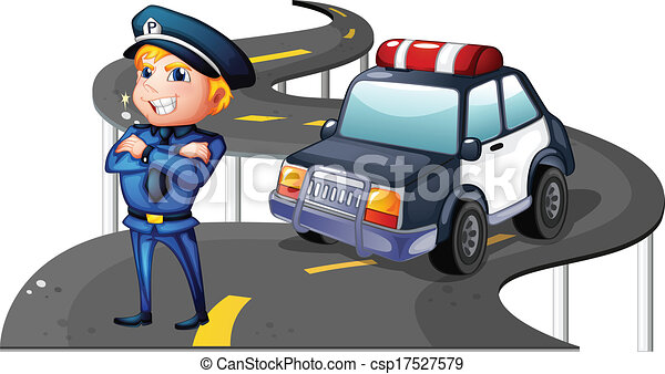 A police and his patrol car in the middle of the road - csp17527579