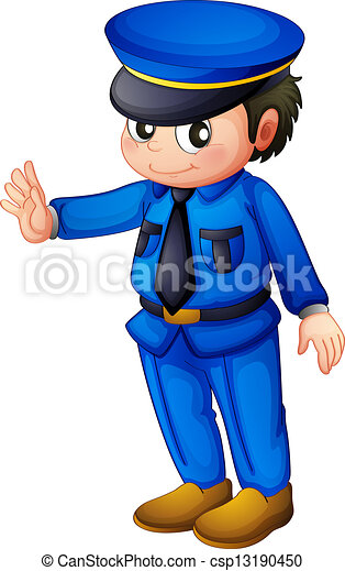 A police officer with a complete blue inform - csp13190450