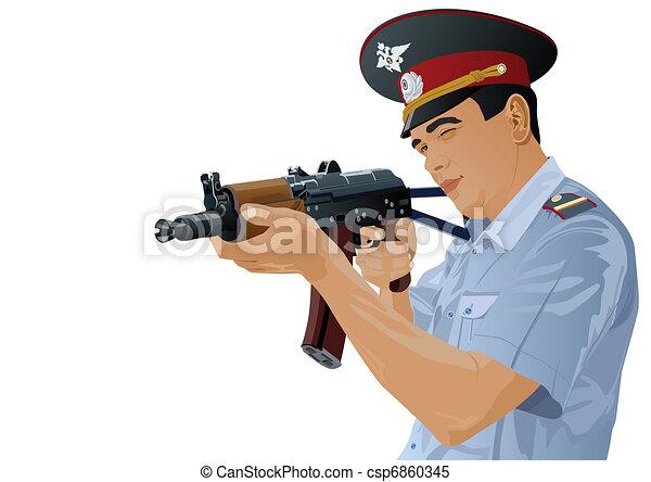 A police officer with a gun - csp6860345