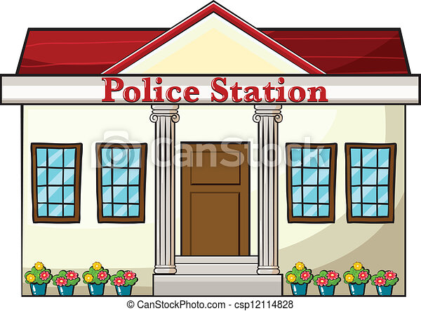 Police station clipart  Illustration of a police station on a white background vector ...