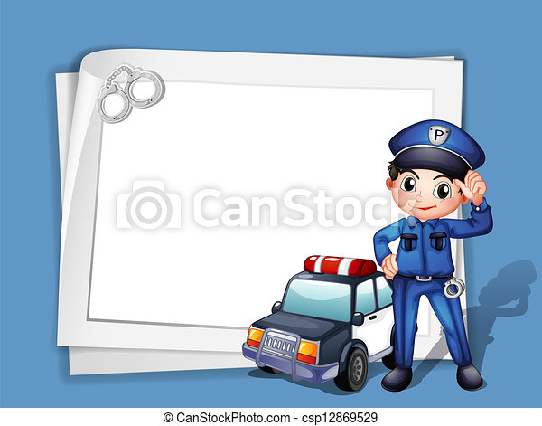A policeman beside a police car - csp12869529