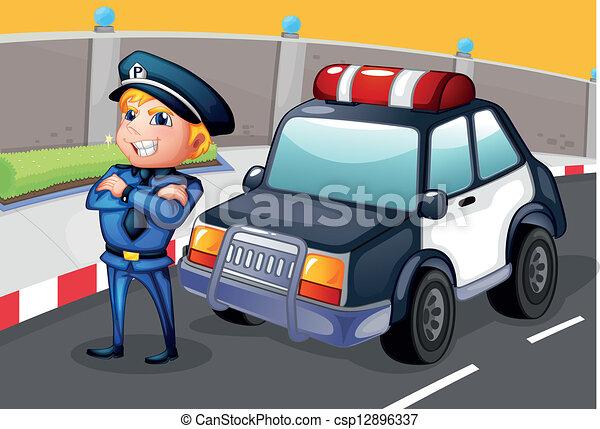 A policeman standing beside his patrol car - csp12896337