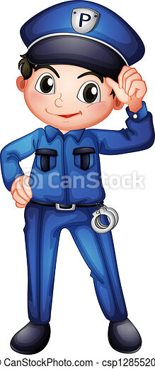 illustration of a policeman with a complete uniform on a vector rh canstockphoto com clipart police station clipart police car