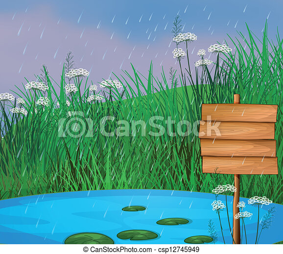 A pond and the wooden signboard - csp12745949