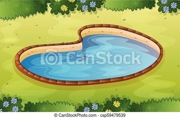 A pond in the garden - csp59479539