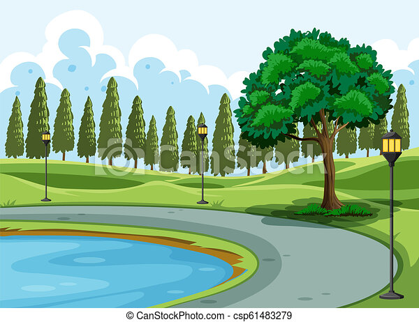 A pond in the park - csp61483279