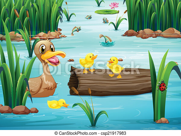A pond with animals - csp21917983