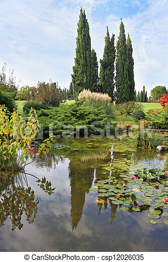 A pond with lilies - csp12026035