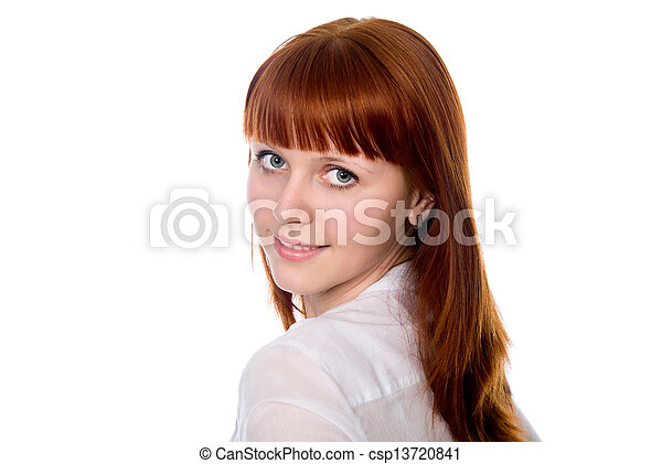 A portrait of a business woman on white background - csp13720841
