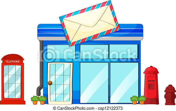 illustration of a post office a mailbox and a telephone on rh canstockphoto com post office building clipart post office clipart black and white