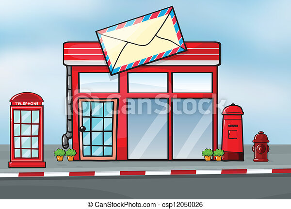 A Post Office Illustration Of A Post Office Near A Street