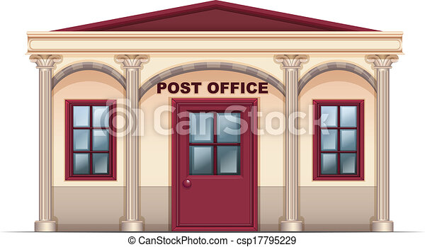 illustration of a post office on a white background vector rh canstockphoto com post office clipart free post office clipart black and white