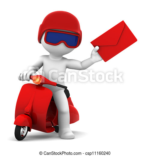 A postman delivering mail. Isolated - csp11160240