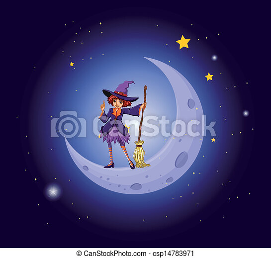 A pretty witch near the moon - csp14783971