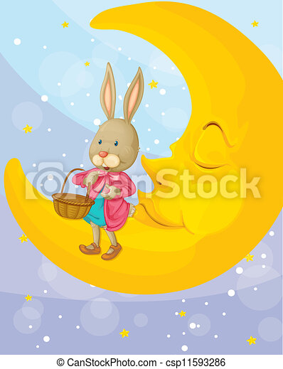 a rabbit and a moon - csp11593286