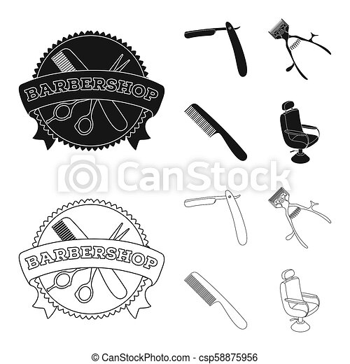 A razor, a mechanical hair clipper, an armchair and other equipment for a hairdresser. Barbershop set collection icons in black, outline style bitmap symbol stock illustration web. - csp58875956