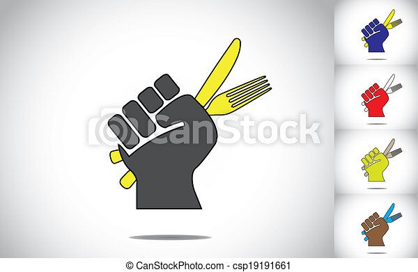 a ready hand holding fork and knife for eating food concept illustration colorful collection set  - csp19191661
