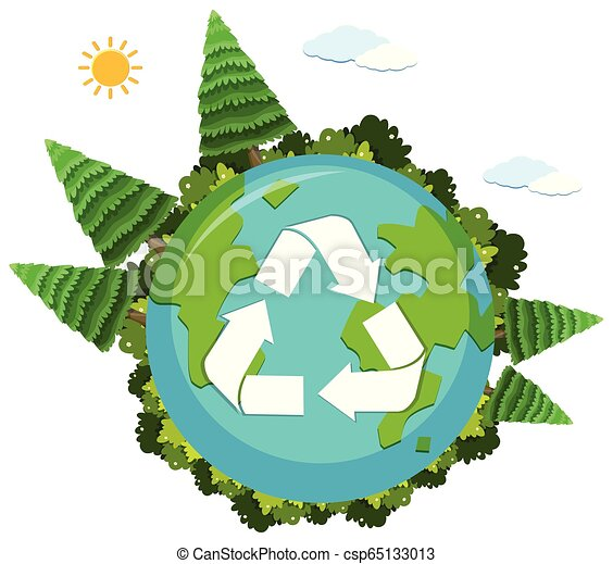 A recycle logo on nature globe - csp65133013
