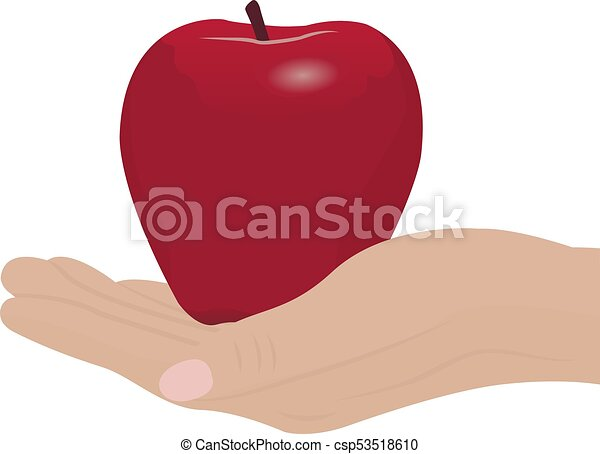 A red apple in a hand - csp53518610