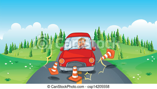 A Red Car At The Road Bumping Traffic Cones Vector