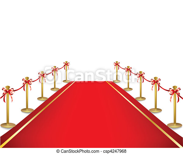 A red carpet and velvet rope. Vector  - csp4247968