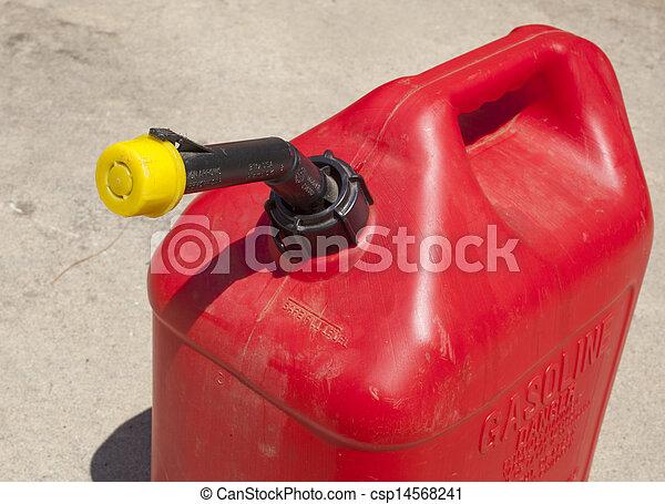 A red  five gallon fuel jug. - csp14568241