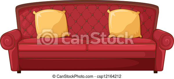 A Red Sofa And Yellow Cushions Illustration Of A Red Sofa And