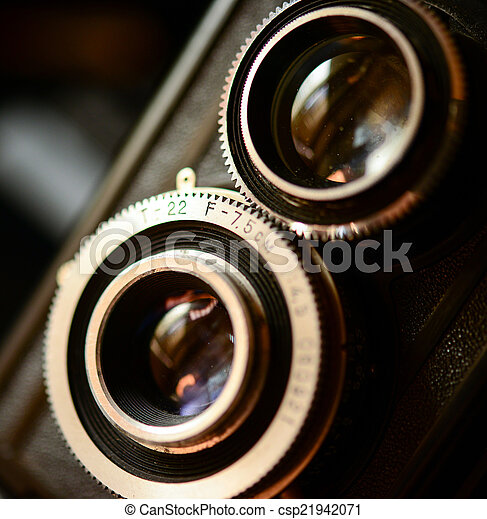 A retro camera lens macro shot with shallow DOF - csp21942071