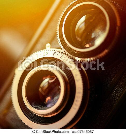 A retro camera lens macro shot with shallow DOF - csp27546087