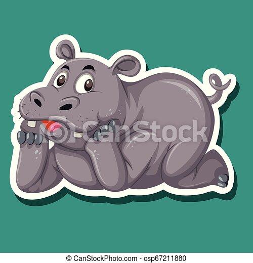 A rhinoceros character sticker - csp67211880