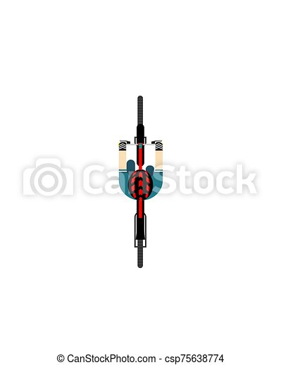 A ride on the bicycle. View from above. Vector illustration on a white isolated background. Flat style. - csp75638774