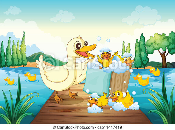 Illustration Of A River A Bench And Ducks In A Beautiful