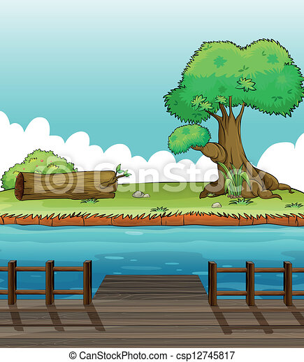 A riverbank view. Illustration of a riverbank view vector clip art - Search Illustration ...